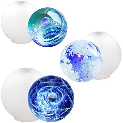 Funshowcase Sphere rund Silikon Form für Harz Epoxy, Schmuckherstellung, Kerze Wachs, Homemade Seife, Bath Bomb 3-Size 0.9, 1, 1.2 inch One-Piece Shape -