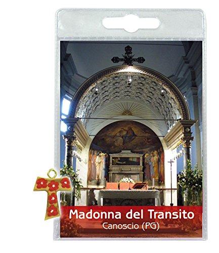 Ferrari & Arrighetti Blister (C) Madonna des Transito mit Kreuz Tau aus Olive und Blumen - Italienisch, 3er Pack