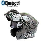Casque Bluetooth pour Motocyclette, Certification D.O.T - Casque modulaire Anti-Collision avec Double Miroir Anti-buée, réponse Automatique au Format MP3,XL
