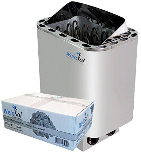 WelaSol® Saunaofen Nordex 8kW mit integrierter Steuerung, Außenmantel Edelstahl, inkl. WelaSol Oivin Diabas Saunasteine