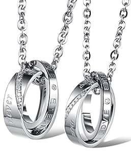 """Ostan - """"Love Eternity"""" 316L acciaio inossidabile metallo con zircone Blocco doppio anello Pendente Collane da coppie - nuovo gioielli modo coppie collana, argento"""