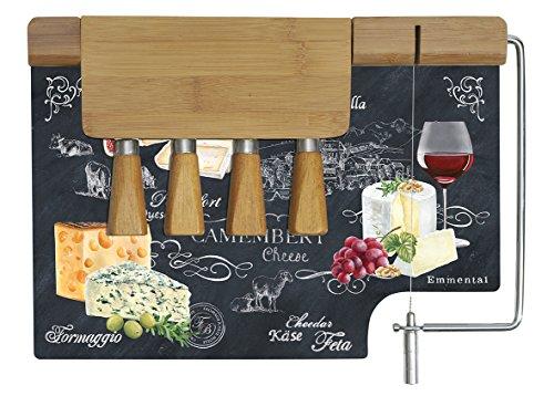Easy Life 810WOCH Coffret Plateau à Fromage, Verre, Noir, 31.5 x 20 x 15 cm