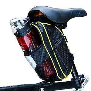 Selighting Bolsa de Sillin Bicicleta, Bolsa Bicicleta Montaña Alforja Bolsa Trasera Bicicleta Impermeable con Compartimento Botella (Verde)