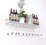 Weiyue Weinregal- Weinregal Wandweinglashalter Kreative Weinregal Becherhalter Hanging-Becherhalter Kopfglashalter Rotwein Halter (weiß) Wandhalterung (Size : 120 * 25 * 17cm)