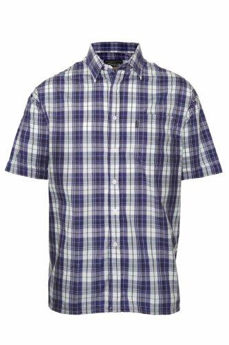 Champion Herren Hemd Casual Country Style Karo 3035 kurzärmliges Baumwoll-Polyester-Mischgewebe Blau - Navy Check