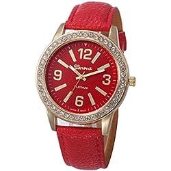 WINWINTOM Women Stainless Steel Analog Leather Quartz Wrist Watch Red