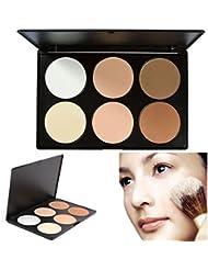 Poudre pressée, TOFAR 6 Couleurs Palette de Maquillage Poudre Compacte Poudre Pressée Fonds de teint naturelle Make Up Palette Professionnel Beauté Cosmétique Set - #1