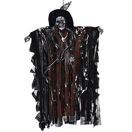 Scary Dekorationen Hängen Schädel Sound Aktiviert Skeleton Ghost Halloween Party Supplies Haunted House Requisiten (Kaffee Kleidung) (Halloween Requisiten Bewegen)