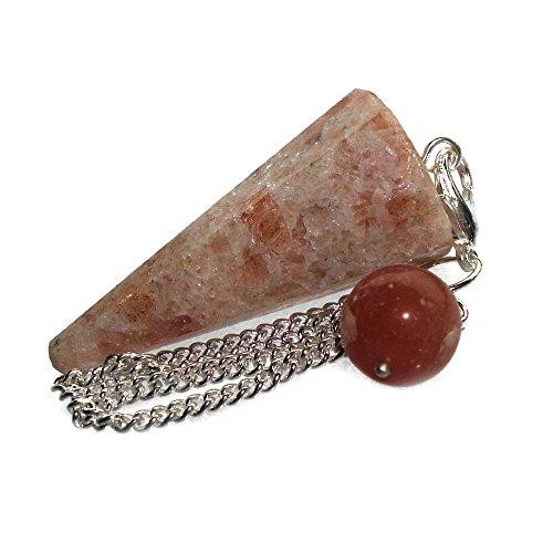 Péndulo cónico de cristal para radiestesia y sanación - gemas naturales genuinas (Piedra Solar)