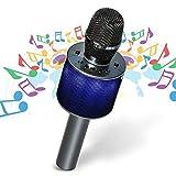 Nubeter Portátil inalámbrico Karaoke Micrófono, Bluetooth Karaoke Micrófono 4.2 2 Altavoces Incorporados con LED Luces de Colores para Karaoke para Party, KTV, Home, Speaker, para PC / Phone, Android / IOS (D03 Gris oscuro)