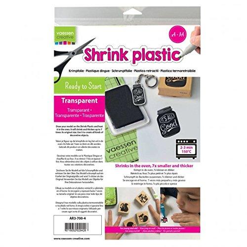 Vaessen Creative Schrumpffolie Durchsichtig A4, 25 Blatt, Plastic, transparent, 21 x 29.8 x 0.3 cm