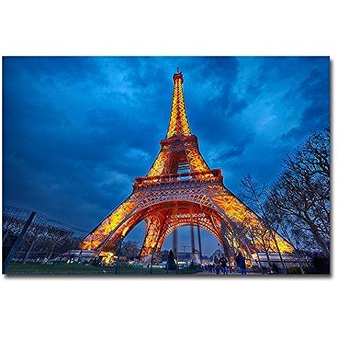 lotuslife grafica stampata dipinti Illuminati Torre Eiffel Pittura a olio su tela per la decorazione della casa,