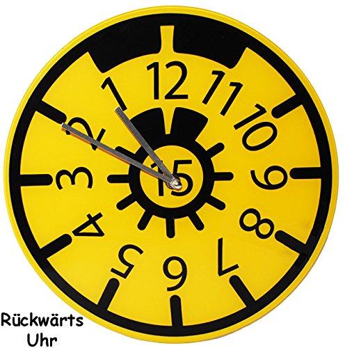 alles-meine.de GmbH Wanduhr - Uhr aus Glas -  TÜV Plakette  - 30,5 cm groß - sehr leise ! - rückwärts laufend - Werkstattuhr - für Kinderzimmer & Wohnzimmer - Rückwärtsuhr - Au.. (Mann Ohne Abzeichen)