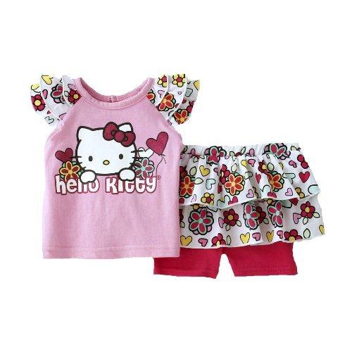 Hello Kitty Kinder Baby Mädchen Sommer Outfit T-Shirt + Rock mit integrierter Leggings Hose (62-68)