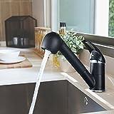 Auralum AusziehbarKüchenarmatur mit Zwei Wasser Form schwarzChrom360° Drehung heiß-undKaltwasser Wasserhahn Einhebelmischer MischbatteriefürKüche