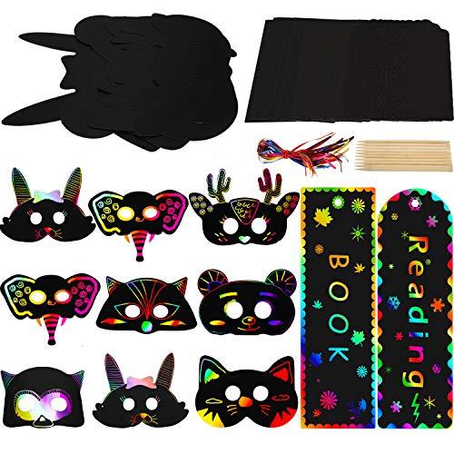 35 Stücke Kratzen Papier Kunst Set, Enthalten 27 Stücke Kratzen Papier Tier Masken mit Elastischen Kordeln, 8 Stücke Kratzen Regenbogen Lesezeichen mit Satinbändern
