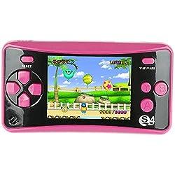 QINGSHE QS-4 Consoles de Jeux Portables, Console de Jeux Retro FC Game Console 2.5 Pouces TFT Écran 182 Rétro Classique Jeux, Arcade TV Jeux Vidéo, Cadeau d'anniversaire pour Enfants (Rose Rouge)