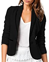 Skyblue-uk Stylish Jacket Womens Ladies Long Sleeve Lapel Two Button Short Casual Office Blazer Suit Jacket Outwear Coats Solid Black Grey