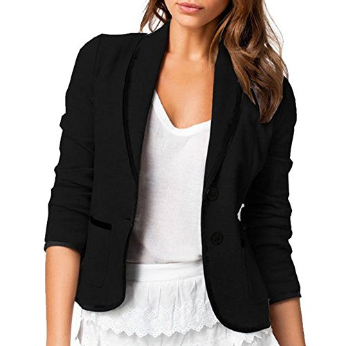 Skyblue-uk Stylish Jacket Womens Ladies Long Sleeve Lapel Two Button Short Casual Office Blazer Suit Jacket Outwear Coats Solid Black Grey Medium