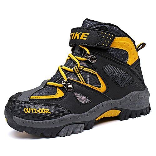 ASHION Kinder Schnee Stiefel Camouflage Wasserdichte Winterschuhe Kinder rutschfeste Knöchel Wandern Stiefel für Winter Gummistiefel (33 EU, Gelb) (Kinder Schuhe Stiefel)