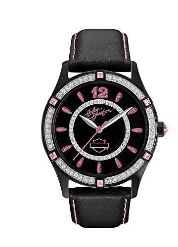 Harley Davidson Women's Quartz Watch with Black Dial Analogue Display and Black Leather Strap 78L113