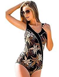 Fashy 22422 Damen Badeanzug Halbkorsage C/D-Cup, schwarz mit Blumen print