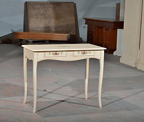 bureau-console-table-finition-col-ivoire-patine-en-bois-decore