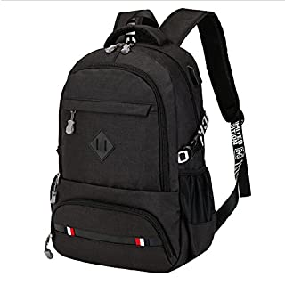 Asdomo wasserdichter Rucksack mit Schultertaschen für Jungen und Herren, idealer Schulrucksack, für Laptops, für Reisen, die Arbeit oder für den Alltag Light Black
