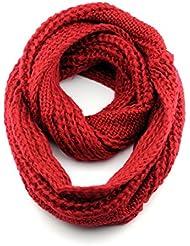 Indispensable foulard infinité en tricot d'acrylique à couleur unie, chaud et doux. Produit offert par NYfashion101.