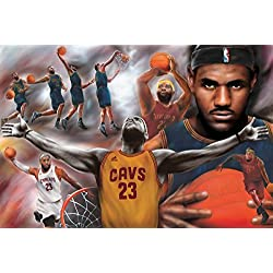 """Póster LeBron James """"Cavaliers Collage/ Colaje de los Caballeros de Cleveland"""" (91,5cm x 61cm) + 2 marcos negros para póster con suspención"""