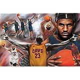 """Póster LeBron James """"Cavaliers Collage/ Colaje de los Caballeros de Cleveland"""" (91,5cm x 61cm) + 1 póster sorpresa de regalo"""