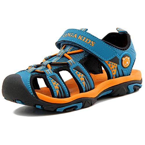 Sommer Sandalen Jungen Ultraleicht Geschlossen Trekking Wandern Schuhe Mädchen Unisex Kinder Outdoor Sport Strand mit Klettverschluss Blau 26 EU