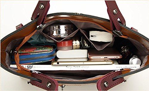 VANCOO Donne Borse Totalizzatore Womens Borse in Pelle Tote Bag Faux pelle 001 blu