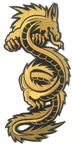 "écusson brodé Appliqué coser Biker Dragón Chino pegatinas parche Badge Dragon de ropa grande talla ""Dragon negro D 'or 28x 12cm"