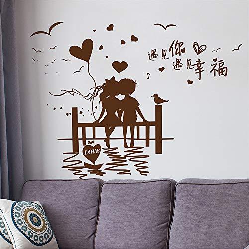[SHIJUEHEZI] Parejas románticas etiqueta de la pared de vinilo DIY Mural para la casa sala de estar dormitorio matrimonio decoración de la habitación