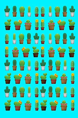 Cactus Flower Design Blank Notebook Journal Aqua 120 College Ruled Pages 6 X 9 - Baum Laptop Decal