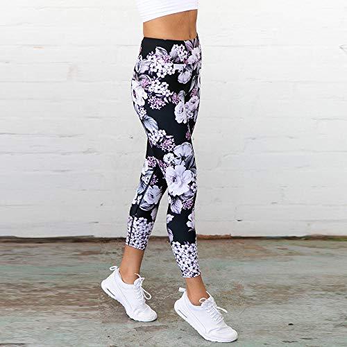 Floral Print Leggings (ZCJB Yogahose Damen Frauen Yoga Hosen Sport Leggings Floral 3D Print Elastic Workout Tanz Strumpfhosen Fitness Capris LaufenSkinny Gym Hosen)