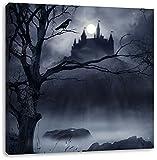 Düstere Burg, Format: 60x60 auf Leinwand, XXL riesige Bilder fertig gerahmt mit Keilrahmen, Kunstdruck auf Wandbild mit Rahmen, günstiger als Gemälde oder Ölbild, kein Poster oder Plakat