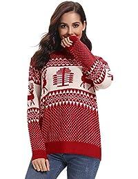 05fbbad09c7b1 Abollria Pull Femme Noël Christmas Sweater Tricot Joyeux Christmas Top  T-Shirt Noël Motif Noël