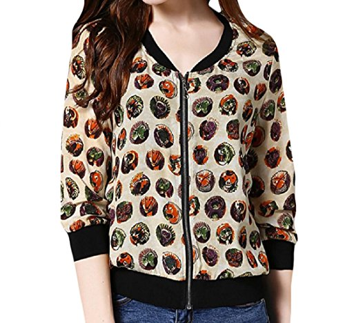 CuteRose Women's 100% Silk Light Weight Floral Spring Jacket Coat 1 S Floral Silk Coat