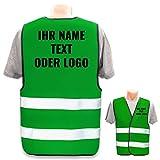 Warnweste mit eigenem Aufdruck * Bedruckt mit Name Text Bild Logo Firma * Personalisiertes Design Selber Machen, Druckposition:Rücken + Linke Brust, Farbe Warnweste:Grün