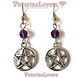 Ohrringe Pentacle Star Circle Amulett Talisman Magie Wicca Pagan Pentagram Lila Hexen Okkulten Hexerei