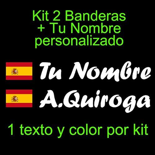 Vinilin Pegatina Vinilo Bandera España con Escudo + tu Nombre - Bici,...