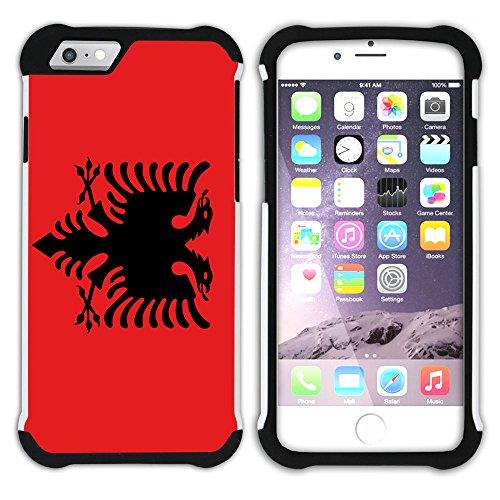 Graphic4You Albanien Albanisch Flagge Hart + Weiche Kratzfeste Hülle Case Schale Tasche Schutzhülle für Apple iPhone 6 / 6S Design #1