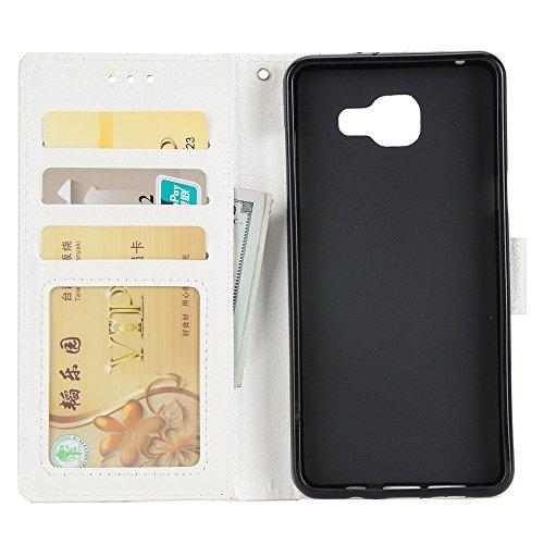 Classic Premiu PU Ledertasche, Horizontale Flip Stand Case Cover mit Cash & Card Slots & Lanyard & Soft TPU Interio Rückseite für Samsung Galaxy A520 ( Color : Wine ) White