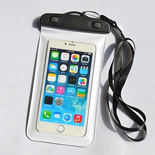Universal wasserdichte Schutzhülle, MBK weltweit Dry Bag Pouch für iPhone 8, 7, 7+, 6S 6,6s Plus, 7SE 5S, Samsung Galaxy S8, S7, S6Note 75, HTC LG Sony Nokia Motorola bis 15,2cm-Blau, White Pouch White Crystal Case