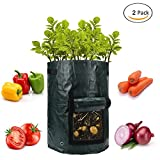 Vaso da giardino bag (2-pack)–coltivare ortaggi:, carote, pomodori, patate e cipolla–fioriera con patta di accesso per raccolta–eco-friendly–resistente e durevole borse