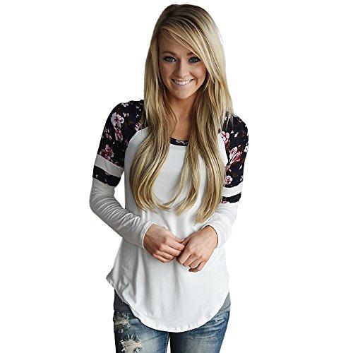 OverDose MoKingTop Damen Floral Splice Printing Langarm Rundhals Pullover Bluse Tops T-Shirt (M, Weiß) -