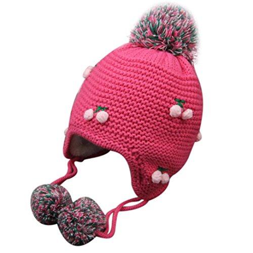 Culater® Inverno bambino Earflap caldo del ragazzo della ragazza Knit Hat Peach (Rosa caldo)