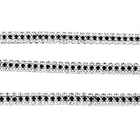 1 Metre Rhinestone Diamante Chain Lace Trim Sparkle Black and Clear Rhinestone Mixed 3 Rows Diamond Gems Cake Toppers by Trimming Shop
